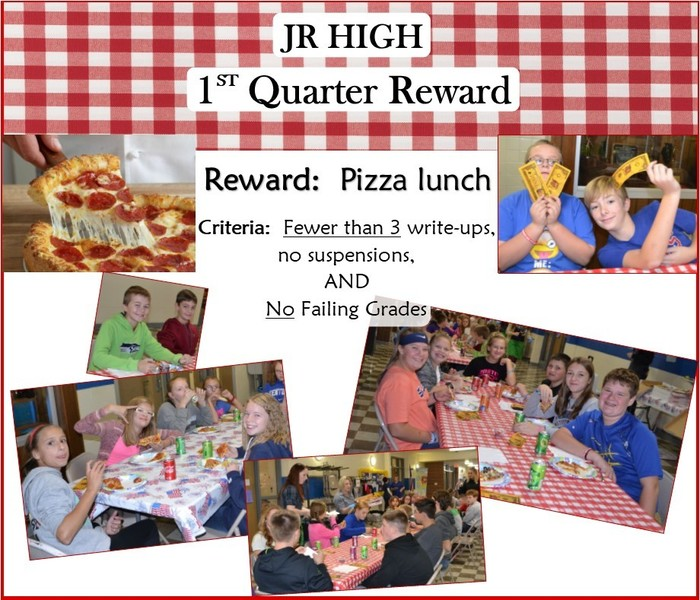Junior high first reward pizza