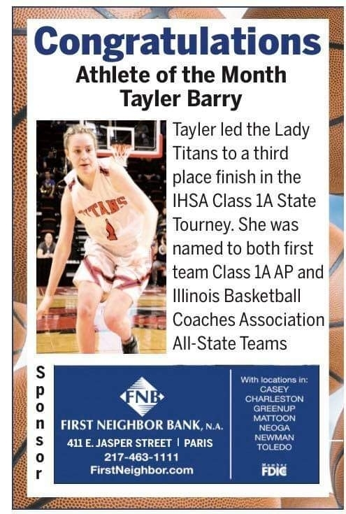 Tayler Barry athlete of the month