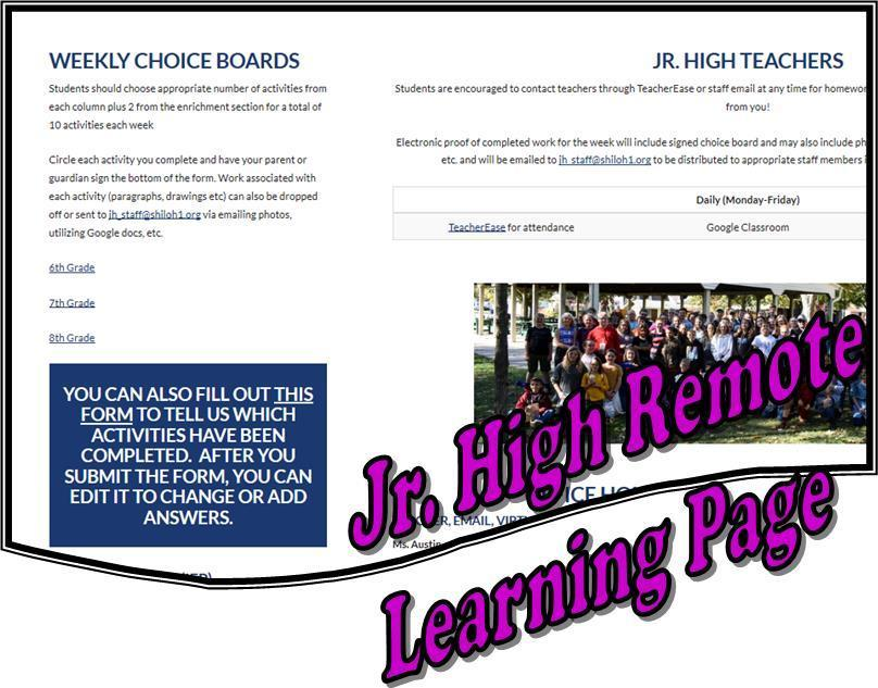 Jr High Remote Learning